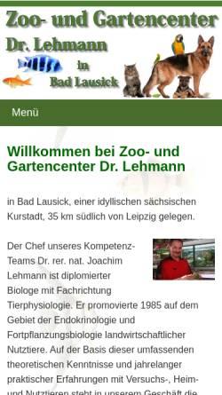 Vorschau der mobilen Webseite www.zoo-garten-erlebnis.de, Zoo- und Gartencenter Dr. Joachim Lehmann