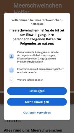 Vorschau der mobilen Webseite www.meerschweinchen-helfer.de, Meerschweinchen Helfer
