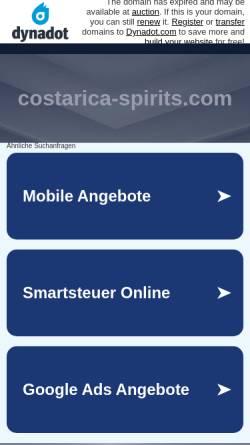 Vorschau der mobilen Webseite www.costarica-spirits.com, Costa Rica Spirits
