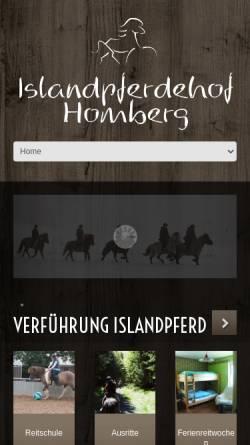 Vorschau der mobilen Webseite www.islandpferdehof-homberg.de, Islandpferdehof Homberg
