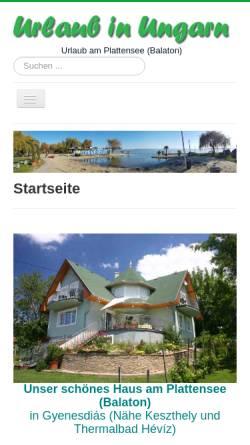 Vorschau der mobilen Webseite www.ungarnurlaub.de, Ferienhaus Margrit