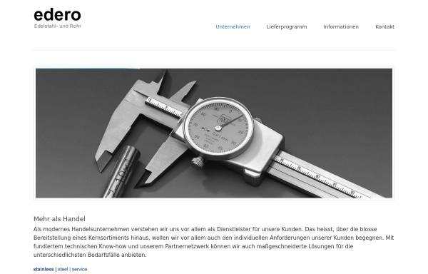 Vorschau von www.edero-edelstahl.de, Edero Edelstahl- und Rohrhandel, Inh. Thomas Specchiulli