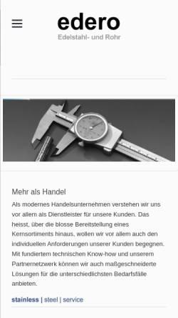 Vorschau der mobilen Webseite www.edero-edelstahl.de, Edero Edelstahl- und Rohrhandel, Inh. Thomas Specchiulli