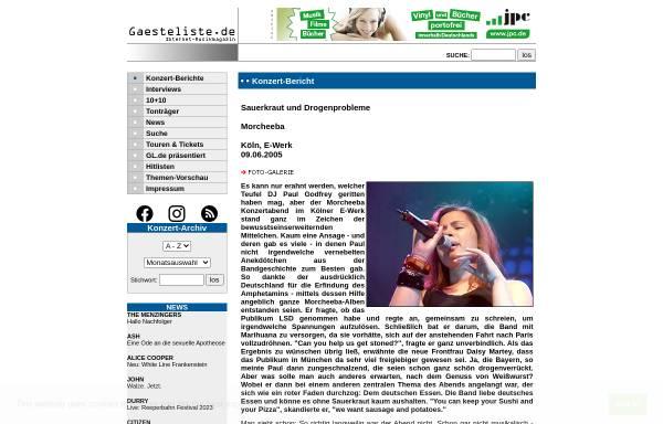 Vorschau von www.gaesteliste.de, Sauerkraut und Drogenprobleme
