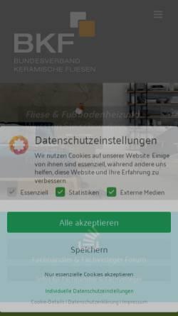 Vorschau der mobilen Webseite www.fliesenverband.de, Industrieverband Keramische Fliesen + Platten e.V.