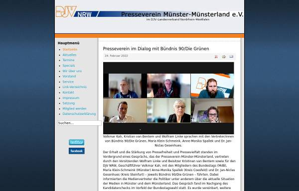 Vorschau von www.presseverein-muenster-muensterland.de, DJV Presseverein Münster-Münsterland e.V.