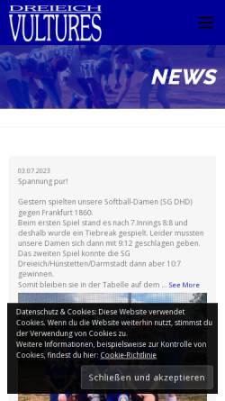 Vorschau der mobilen Webseite www.vultures.de, Dreieich Vultures