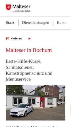 Vorschau der mobilen Webseite www.malteser-bochum.de, Malteser Hilfsdienst e.V., Kreisverband Bochum / Ennepe-Ruhr