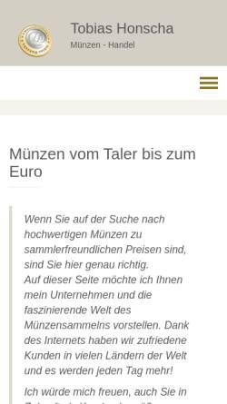 Vorschau der mobilen Webseite www.honscha.de, Münzenhandlung Tobias Honscha
