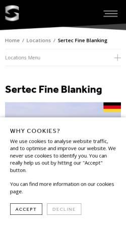 Vorschau der mobilen Webseite www.sertec.co.uk, BFL Feinstanzteile GmbH
