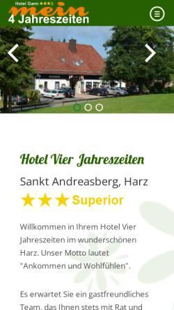 Vorschau der mobilen Webseite www.vier-jahreszeiten-harz.de, Vier Jahreszeiten St. Andreasberg
