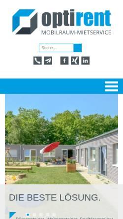 Vorschau der mobilen Webseite www.optirent-mietservice.de, Optirent Mobilraum-Mietservice GmbH