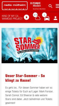 Vorschau der mobilen Webseite www.radiomuelheim.de, Radio Mülheim