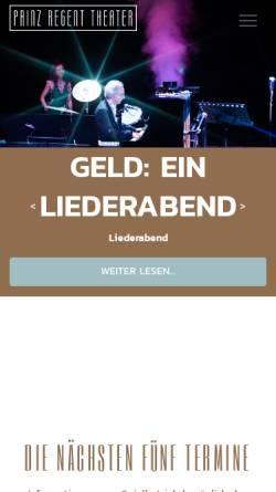 Vorschau der mobilen Webseite www.prinzregenttheater.de, Prinz Regent Theater