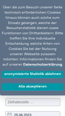 Vorschau der mobilen Webseite regioradler.de, RegioRadler - Zweckverband Schienenpersonennahverkehr Rheinland-Pfalz
