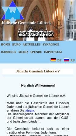 Vorschau der mobilen Webseite www.jg-luebeck.derunet.de, Jüdische Gemeinde Luebeck