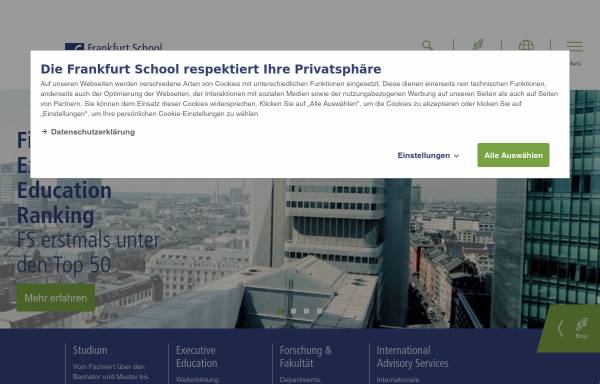 Vorschau von www.frankfurt-school.de, Frankfurt School of Finance & Management