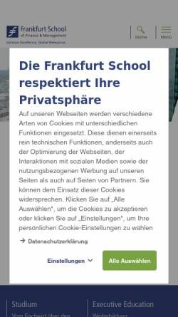 Vorschau der mobilen Webseite www.frankfurt-school.de, Frankfurt School of Finance & Management