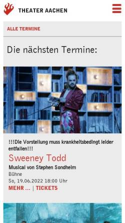 Vorschau der mobilen Webseite www.theater-aachen.de, Theater Aachen