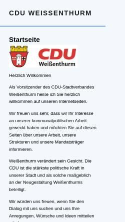 Vorschau der mobilen Webseite www.cdu-weissenthurm.de, CDU Stadtverband Weißenthurm