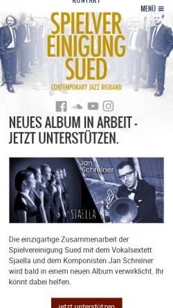 Vorschau der mobilen Webseite spielvereinigungsued.de, Spielvereinigung Sued – Contemporary Jazz Big Band