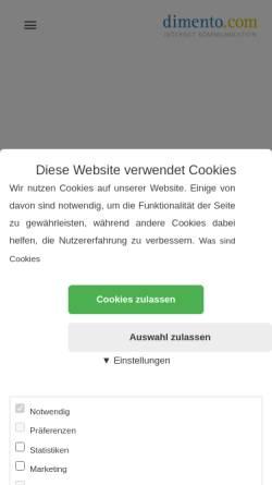 Vorschau der mobilen Webseite dimento.com, Dimento.com Internet Kommunikation - Dieter Stratmann