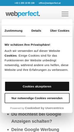 Vorschau der mobilen Webseite www.webperfect.at, WebPerfect Online Marketing, Inh. Harald Schrefl