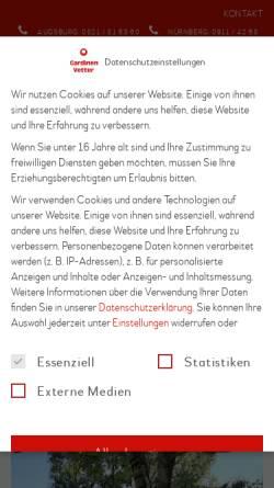Vorschau der mobilen Webseite www.gardinenvetter.de, Gardinen Vetter