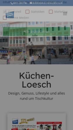 Vorschau der mobilen Webseite www.kuechen-loesch.de, Küchen-Loesch, Leonhd. Carl Loesch GmbH
