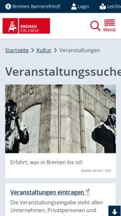 Vorschau der mobilen Webseite www.bremen.de, Bremen.online Veranstaltungen