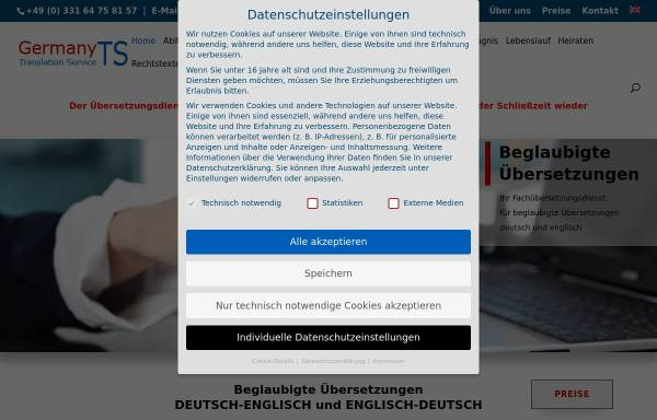 Vorschau von www.germanyts.de, Germany Translation Service