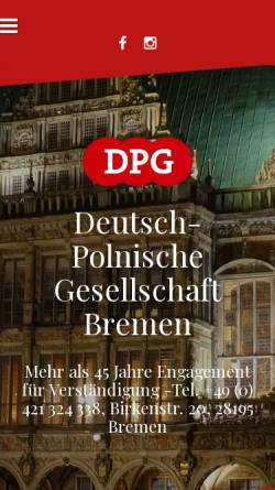 Vorschau der mobilen Webseite www.dpg-bremen.de, Deutsch-Polnische Gesellschaft Bremen e. V.