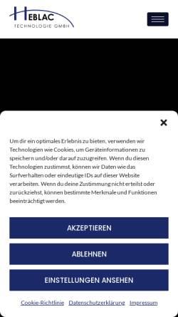 Vorschau der mobilen Webseite www.heblac.de, Heblac Technologie GmbH
