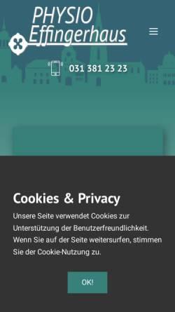 Vorschau der mobilen Webseite www.physioeffingerhaus.ch, Physio Effingerhaus