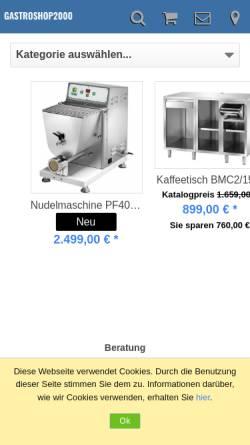 Vorschau der mobilen Webseite www.gastro-profi.eu, Gastroshop2000 Klaus Remmert