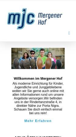 Vorschau der mobilen Webseite www.mjctrier.de, Mergener Hof e.V. (MJC von 1617)