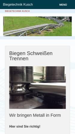 Vorschau der mobilen Webseite www.biegetechnik-kusch.de, KGB Biegetechnik Georg Kusch
