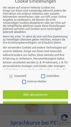 Vorschau der mobilen Webseite www.pet-sprachen.de, PET Sprachen