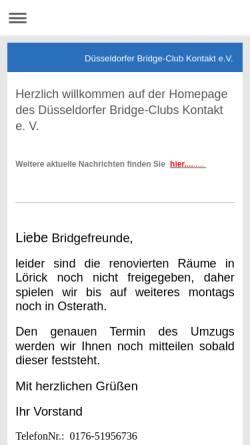 Vorschau der mobilen Webseite bridgeclub-kontakt.de, Düsseldorfer Bridge-Club Kontakt e.V.