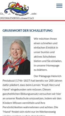 Vorschau der mobilen Webseite www.rsgriesbach.de, Web der Realschule Bad Griesbach