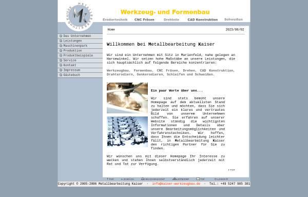 Vorschau von www.kaiser-werkzeugbau.de, Metallbearbeitung Kaiser, Inh. Peter Kaiser