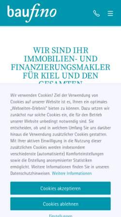 Vorschau der mobilen Webseite www.baufino-immobilien.de, Baufinanzberatung Nord GmbH
