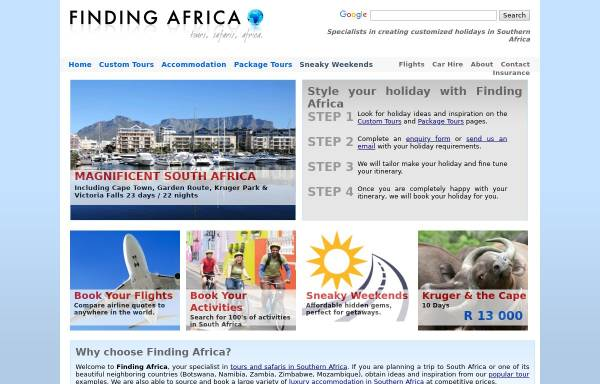 Vorschau von www.findingafrica.com, Findingafrica.com