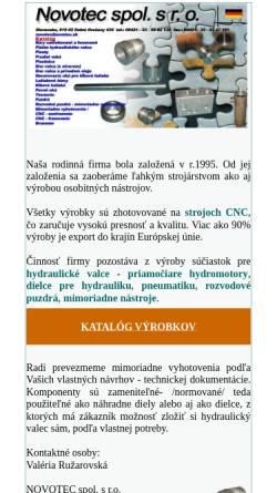 Vorschau der mobilen Webseite www.novotec.sk, Novotec spol. s r.o.