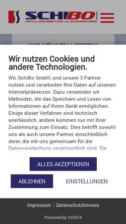 Vorschau der mobilen Webseite www.schilderfabrik-bohn.de, SchiBo GmbH - Schilderfabrik Bohn