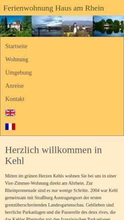 Vorschau der mobilen Webseite ferienwohnung-kehl.de, Ferienwohnung Haus am Rhein