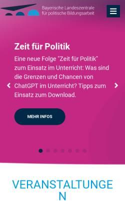 Vorschau der mobilen Webseite www.blz.bayern.de, Landeszentrale für politische Bildung