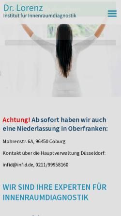 Vorschau der mobilen Webseite infid.de, Dr. Lorenz - Institut für Innenraumdiagnostik
