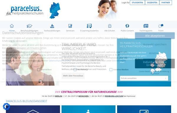 Vorschau von www.paracelsus.de, Deutsche Paracelsus Schulen für Naturheilverfahren GmbH