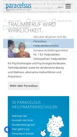 Vorschau der mobilen Webseite www.paracelsus.de, Deutsche Paracelsus Schulen für Naturheilverfahren GmbH